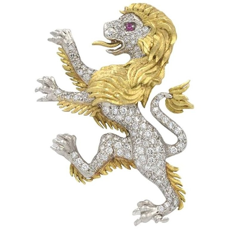 JE Caldwell Diamond Lion Brooch in Platinum and 18K Gold Circa 1950