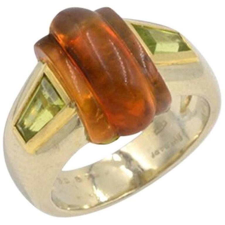 Bulgari Vintage Citrine and Peridot 18K Gold Ring Circa 1980s
