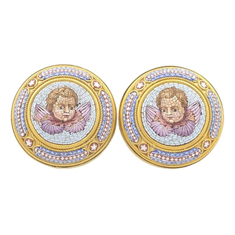 Antique Cupid Micro Mosaic 18K Gold Earrings