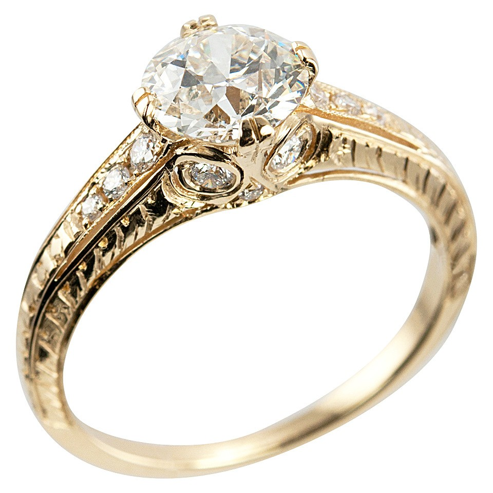 105 carat diamond and 18k yellow gold vintage inspired engagement ring - Vintage Inspired Wedding Rings