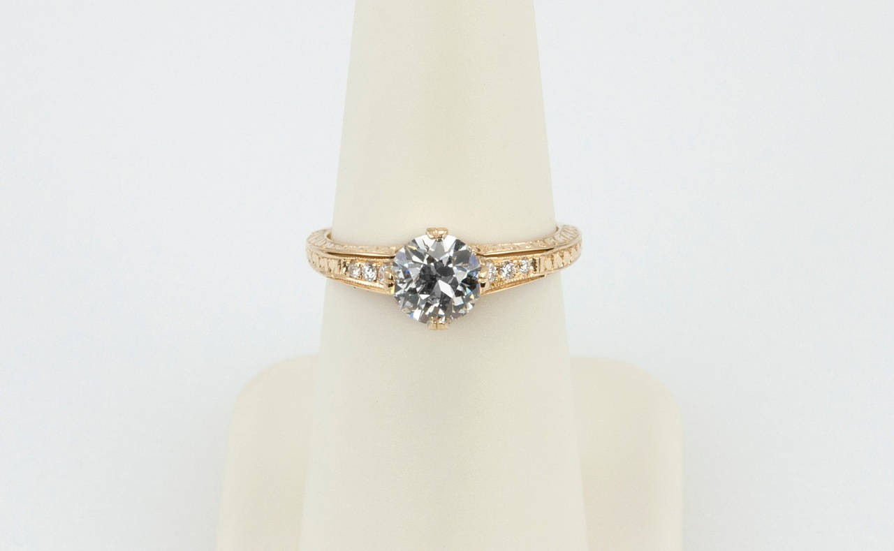 105 Carat Diamond And 18k Yellow Gold Vintage Inspired Engagement Ring