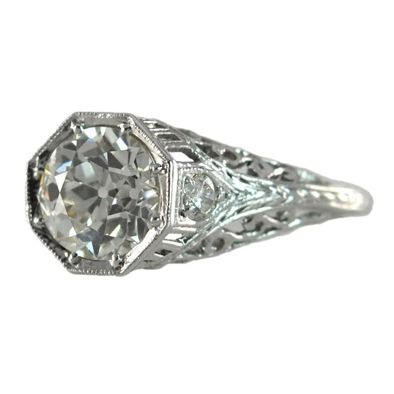 Edwardian 1.69 Carat Old European Cut Diamond and Platinum Ring