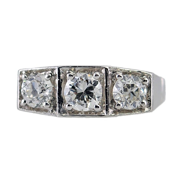 Art Deco Three-Stone Old European Cut Diamond and Platinum Ring