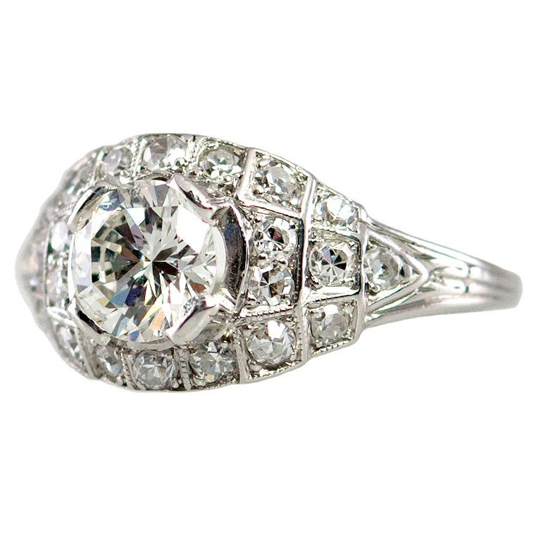 Art Deco 0.80 Carat Old European Cut Diamond and Platinum Ring