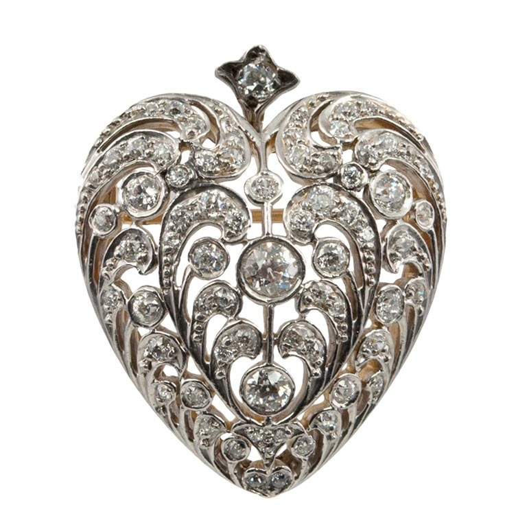 Large antique old european cut diamond heart pendant and brooch large antique old european cut diamond heart pendant and brooch mozeypictures Gallery