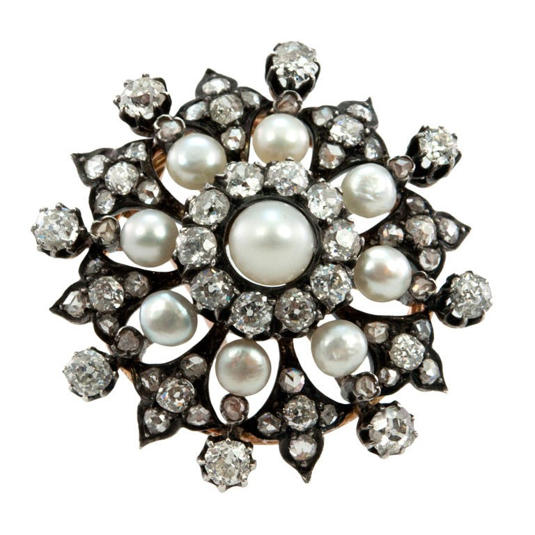 Victorian Diamond and Pearl Brooch