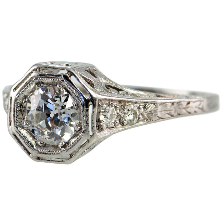 Bezel Set .75ct Old European Cut Diamond Ring