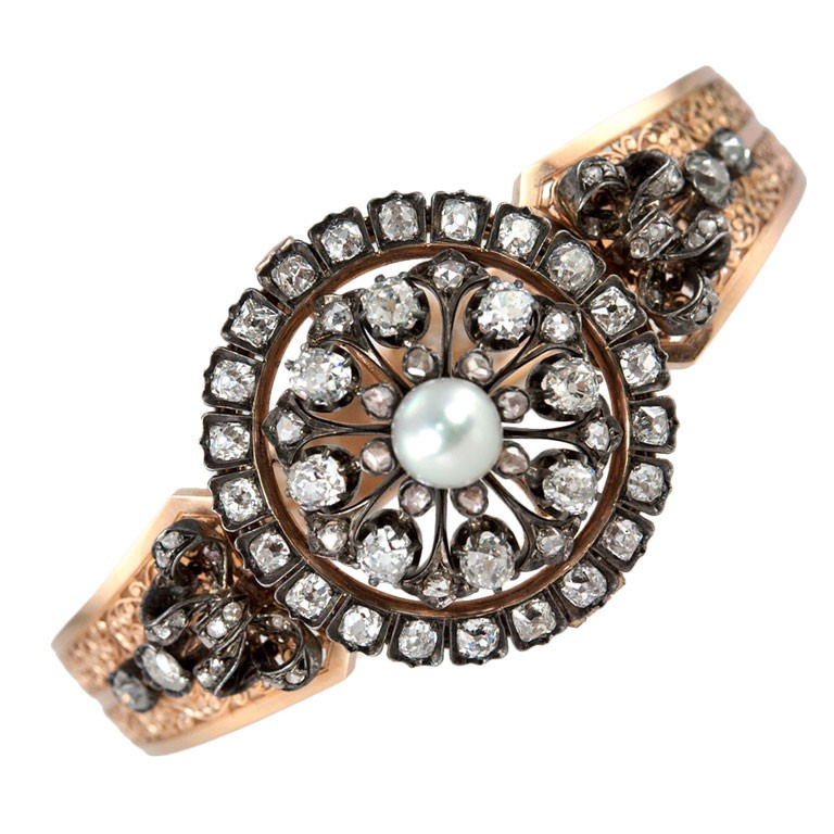 Victorian Pearl Diamond Bangle
