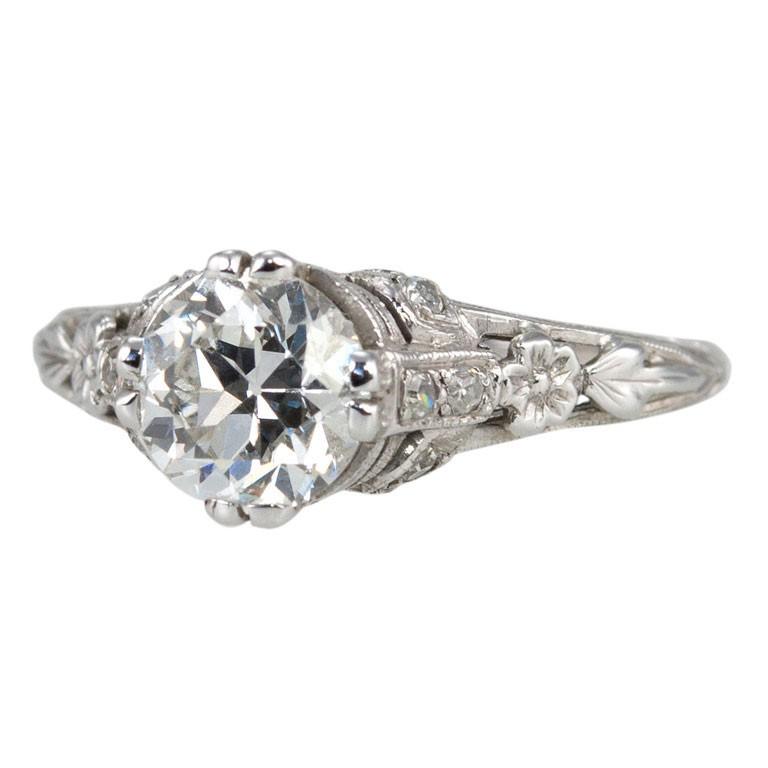 Edwardian 1.19 Carat Old European Cut Diamond Ring
