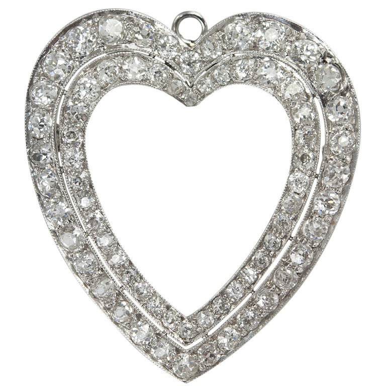Double Row Diamond Heart