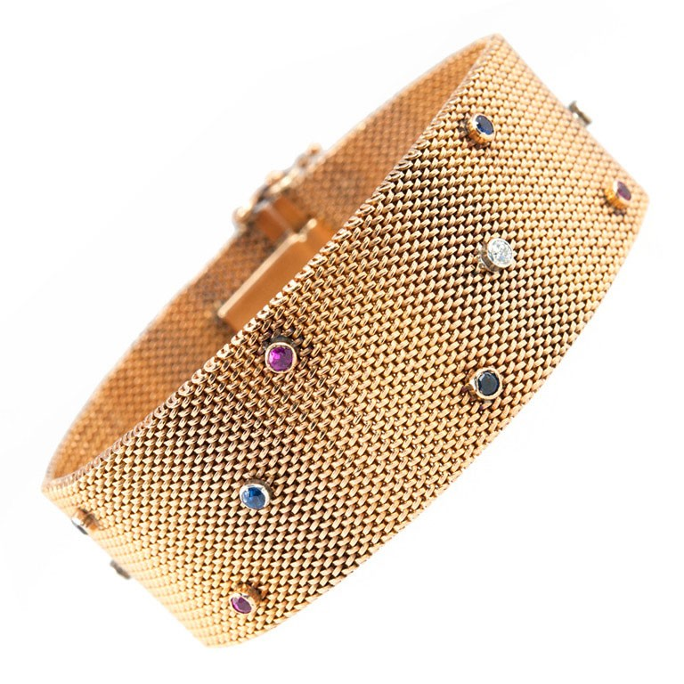 Victorian 18K Yellow Gold Sapphire Ruby Diamond Mesh Bracelet