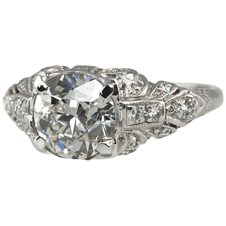 1.56 Carat Platinum Art Deco Engagement Ring