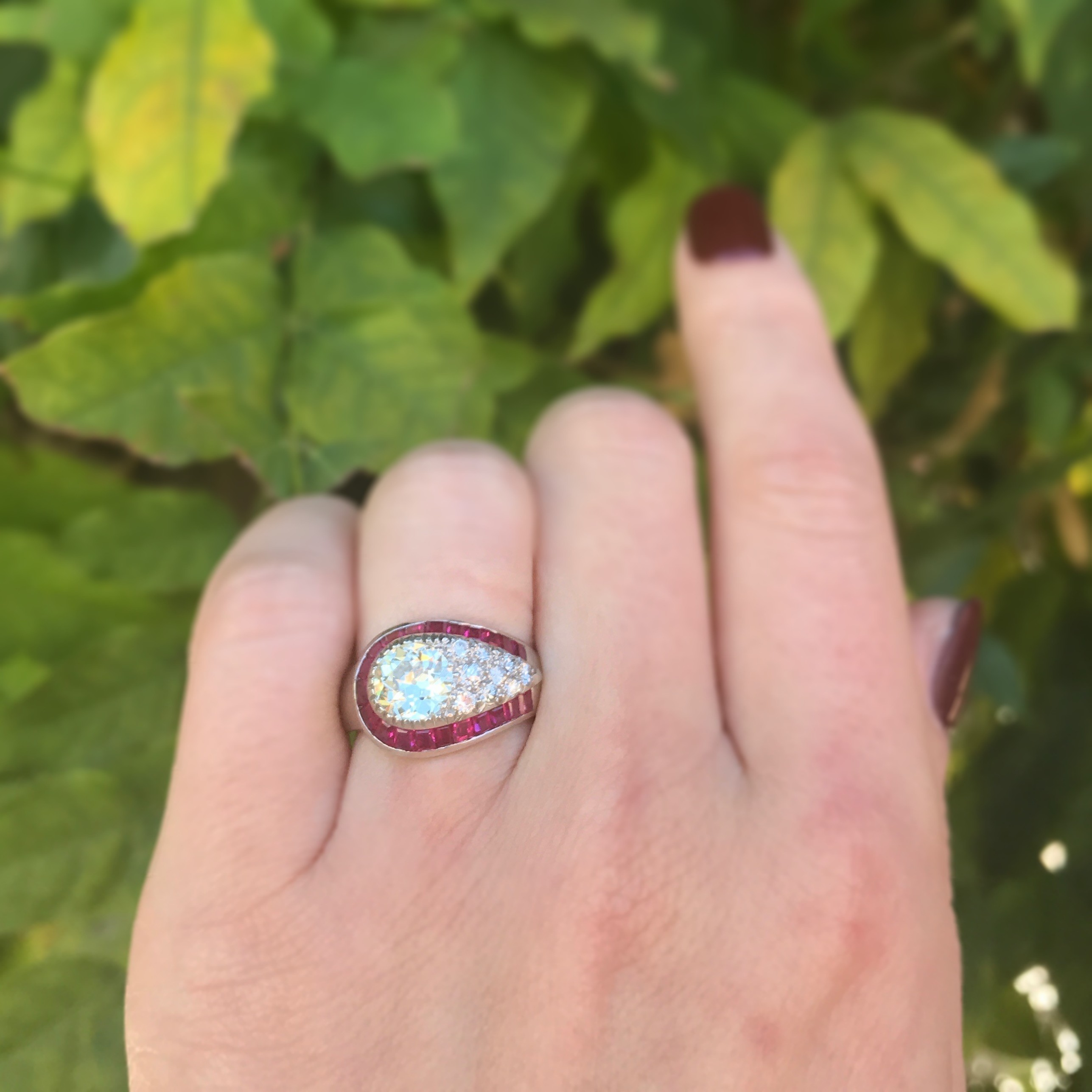 Art Deco Diamond and Ruby Cluster Platinum Ring - Rings - Jewelry