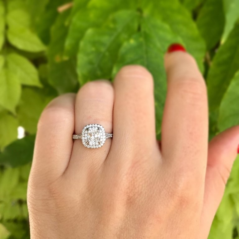 Tiffany Co Soleste 0 71 Carat Cushion Cut Diamond Engagement
