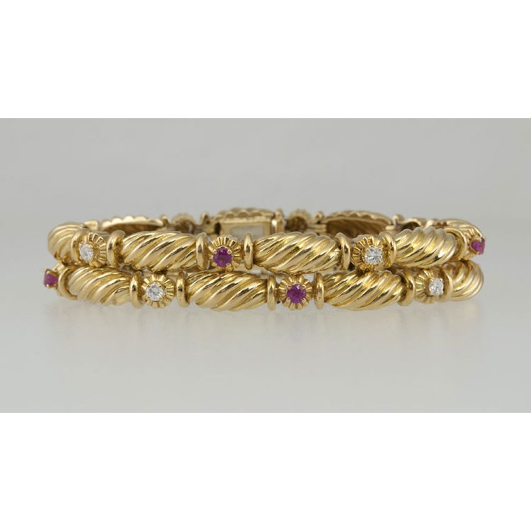 Tiffany and Co 18K Yellow Gold Ruby and Diamond Double Row ...