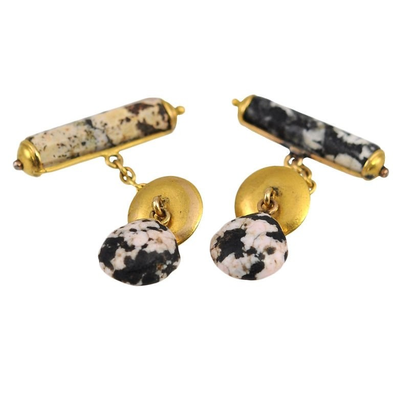Antique Jasper and 18K Yellow Gold Cufflinks