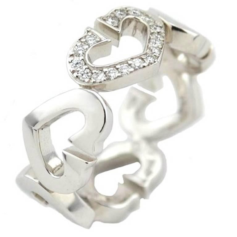 C Heart of Cartier Ring in 18K White Gold with Diamonds