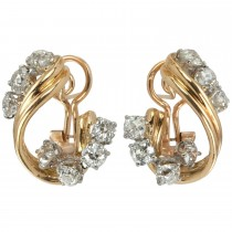 Old European Cut Diamond Platinum and Gold Twist Earrings, Circa 1950s