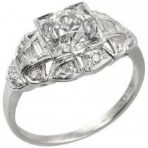 1.06 Old European Cut Diamond Art Deco Engagement Ring