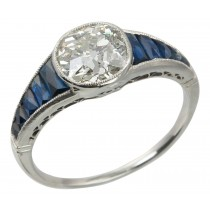 Edwardian 1.65 Carat Diamond Platinum Engagement Ring with Sapphires