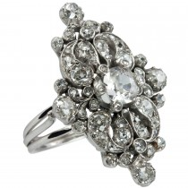 Old Mine Cut Diamond and Platinum Ring