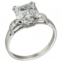 2.26ct Square Emerald Cut Diamond Engagement Ring, Circa 1930s