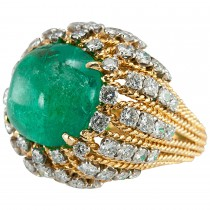 Natural Emerald Cabochon, Diamond, and Gold Cocktail Ring