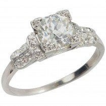 1.01 Carat Cushion Cut Diamond Art Deco Engagement Ring
