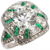 Tiffany & Co. Old European Cut Diamond Ring with Emeralds
