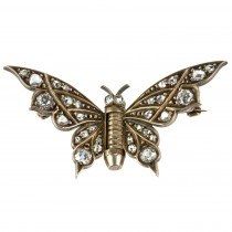 Victorian Butterfly Gold Brooch with Diamonds