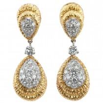 Diamond Dangle Two-Tone Earrings