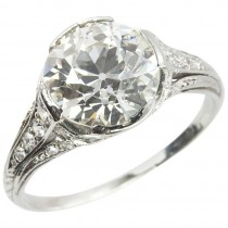 Edwardian 2.20 Carat Old European Cut Diamond Engagement Ring
