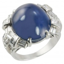 Art Deco Star Sapphire and Diamond Cocktail Ring