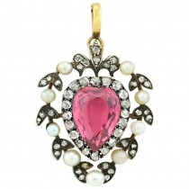 Victorian Tourmaline Pendant with Rose Cut Diamonds and Pearls