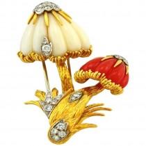 Van Cleef & Arpels Gold Mushroom Brooch with Coral and Diamonds