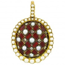 Victorian Gold and Red Enamel Pendant with Rose Cut Diamonds and Pearls