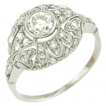 Platinum Diamond Edwardian filigree Engagment Ring