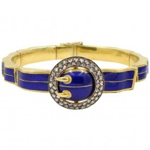 Victorian Blue Enamel and 18K Gold Buckle Bangle with Rose Cut Diamonds