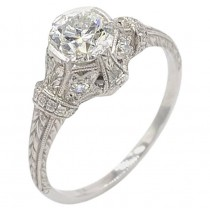 Antique 0.81 Carat Old European Cut Diamond and Platinum Engagement Ring