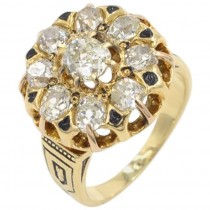 Victorian Old Mine Cut Diamond and 18K Gold Cluster Ring Circa 1880s