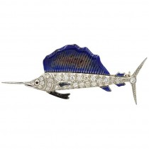 Art Deco Sailfish Brooch in Platinum with Diamonds and Enamel Circa 1930