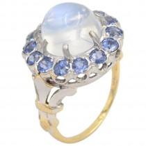 Vintage Moonstone and Sapphire 14K Gold Cluster Ring