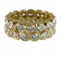Diamond Double Row Band in 18K Yellow Gold