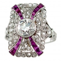 Edwardian Diamond and Ruby Platinum Ring Circa 1910