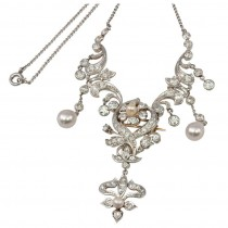 Edwardian Necklace With Diamonds & Pearls
