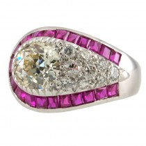 Art Deco Diamond and Ruby Cluster Platinum Ring