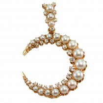 Victorian Pearl and Diamond 14K Yellow Gold Crescent Brooch and Pendant