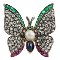 Victorian Gemstone Butterfly Pin