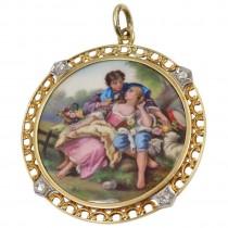 1900 Tiffany & Co. Painted Scene Pendant