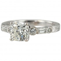1.11 Carat Cushion Cut Diamond Engagement Ring